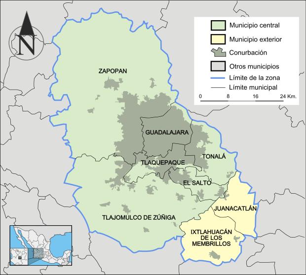 Mapa del Área Metropolitana de Guadalajara